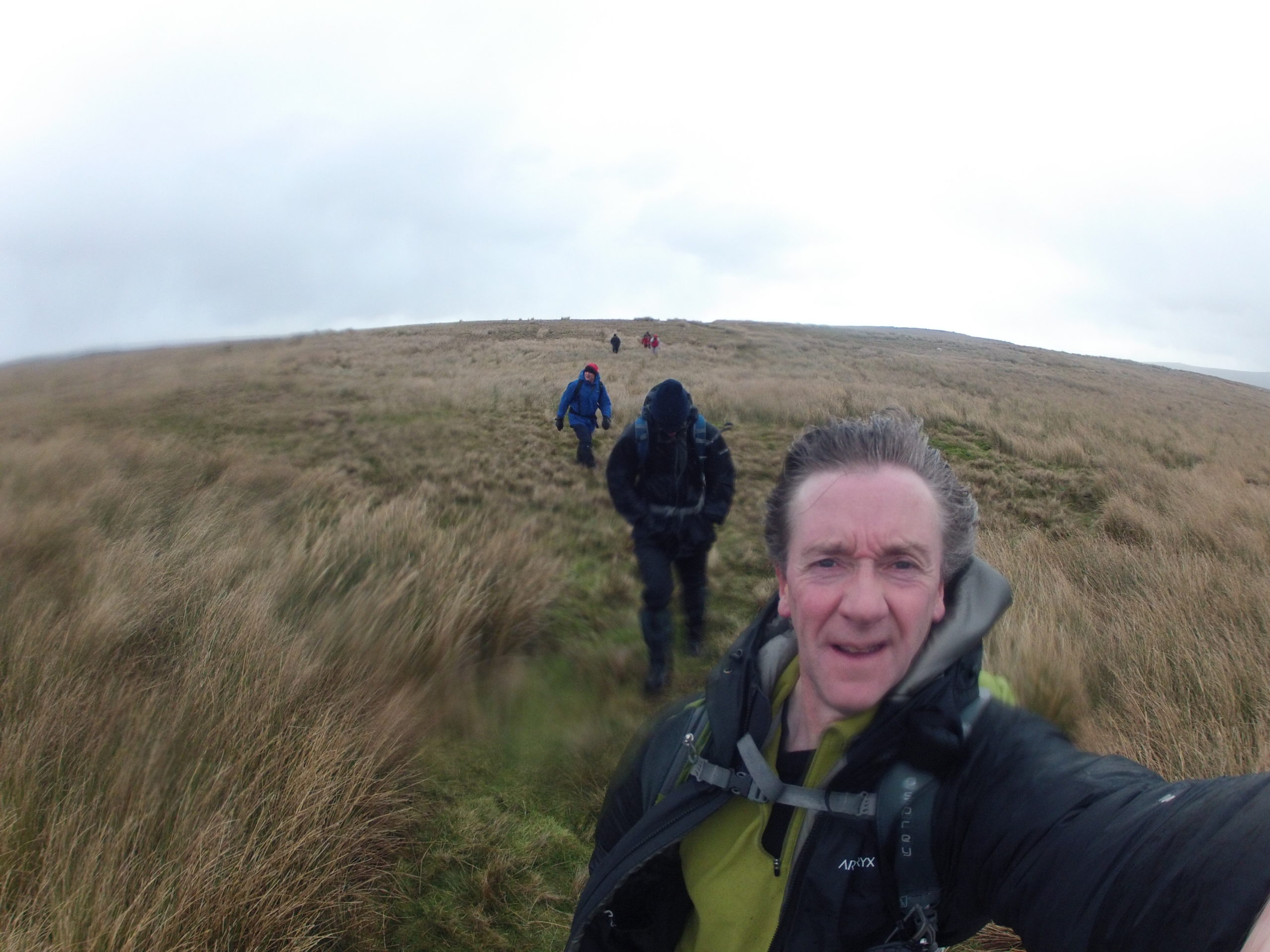 Heading back to Hebden in high winds across Mossy Moor